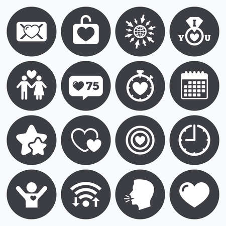 oath: Calendar, wifi and clock symbols. Like counter, stars symbols. Love, valentine day icons. Target with heart, oath letter and locker symbols. Couple lovers, boyfriend signs. Talking head, go to web symbols. Vector