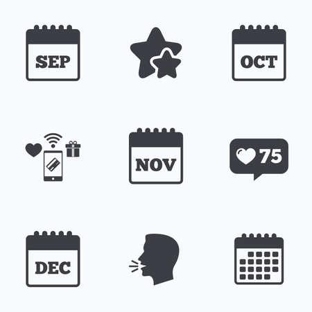 sep: Calendar icons. September, November, October and December month symbols. Date or event reminder sign. Flat talking head, calendar icons. Stars, like counter icons. Vector Illustration