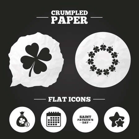 feast of saint patrick: Crumpled paper speech bubble. Saint Patrick day icons. Money bag with coin and clover sign. Wreath of quatrefoil clovers. Symbol of good luck. Paper button. Vector Illustration