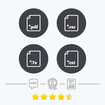 txt: Download document icons. File extensions symbols. PDF, RAR, 7z and TXT signs. Chat, award medal and report linear icons. Star vote ranking. Vector Illustration