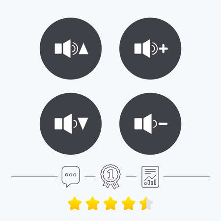 quieter: Player control icons. Sound louder and quieter signs. Dynamic symbol. Chat, award medal and report linear icons. Star vote ranking. Vector Illustration