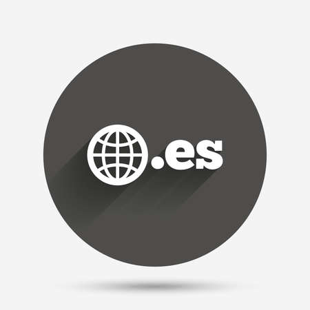 domain: Domain ES sign icon. Top-level internet domain symbol with globe. Circle flat button with shadow. Vector