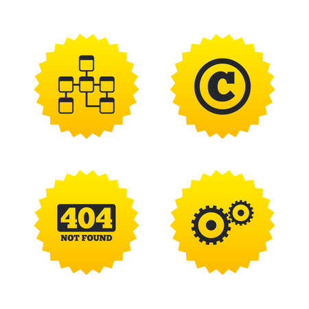 copyrights: Website database icon. Copyrights and gear signs. 404 page not found symbol. Under construction. Yellow stars labels with flat icons. Vector