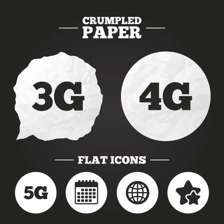 3g: Crumpled paper speech bubble. Mobile telecommunications icons. 3G, 4G and 5G technology symbols. World globe sign. Paper button. Vector