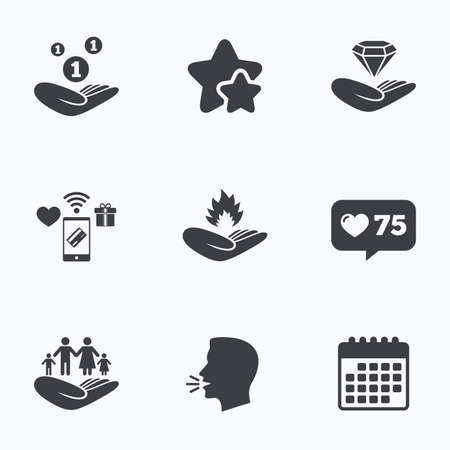 head protection: Helping hands icons. Financial money savings, family life insurance symbols. Diamond brilliant sign. Fire protection. Flat talking head, calendar icons. Stars, like counter icons. Vector