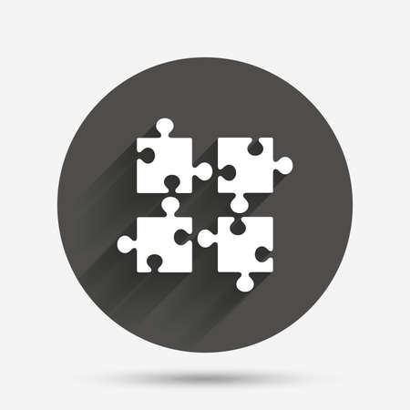 ingenuity: Puzzles pieces sign icon. Strategy symbol. Ingenuity test game. Circle flat button with shadow. Vector
