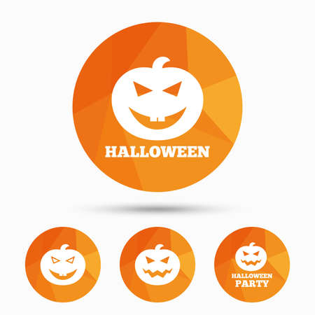 hallows: Halloween pumpkin icons. Halloween party sign symbol. All Hallows Day celebration. Triangular low poly buttons with shadow. Vector