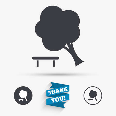 break down: Falling tree sign icon. Caution break down tree symbol. Flat icons. Buttons with icons. Thank you ribbon. Vector Illustration