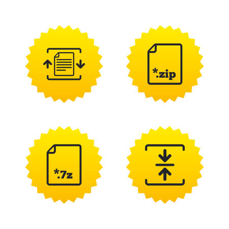 compression: Archive file icons. Compressed zipped document signs. Data compression symbols. Yellow stars labels with flat icons. Vector