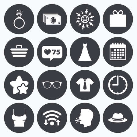 web engagement: Calendar, wifi and clock symbols. Like counter, stars symbols. Accessories, clothes icons. Shirt with tie, glasses signs. Dress and engagement ring symbols. Talking head, go to web symbols. Vector Illustration