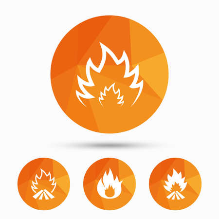 inflammable: Fire flame icons. Heat symbols. Inflammable signs. Triangular low poly buttons with shadow. Vector