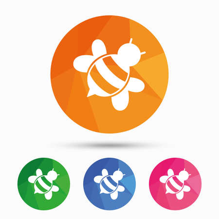 pollination: Bee sign icon. Honeybee or apis with wings symbol. Flying insect diagonal. Triangular low poly button with flat icon. Vector