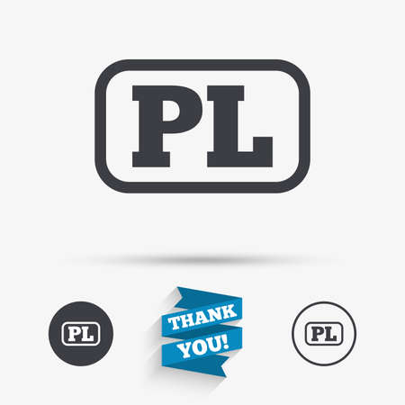 pl: Polish language sign icon. PL translation symbol with frame. Flat icons. Buttons with icons. Thank you ribbon. Vector