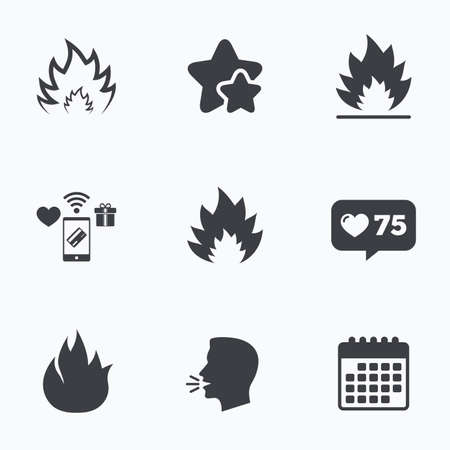 inflammable: Fire flame icons. Heat symbols. Inflammable signs. Flat talking head, calendar icons. Stars, like counter icons. Vector