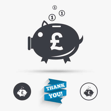 pound symbol: Piggy bank sign icon. Moneybox pound symbol. Flat icons. Buttons with icons. Thank you ribbon. Vector
