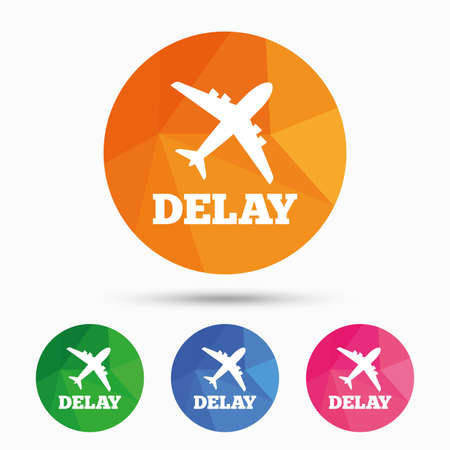 delay: Delayed flight sign icon. Airport delay symbol. Airplane icon. Triangular low poly button with flat icon. Vector