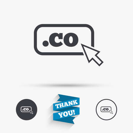 co: Domain CO sign icon. Top-level internet domain symbol with cursor pointer. Flat icons. Buttons with icons. Thank you ribbon. Vector