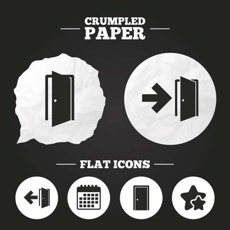 fire exit: Crumpled paper speech bubble. Doors icons. Emergency exit with arrow symbols. Fire exit signs. Paper button. Vector