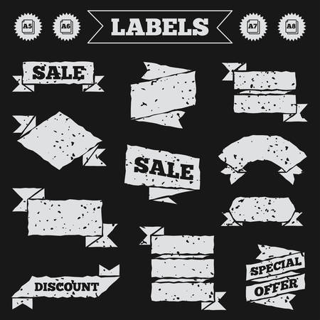 a7: Stickers, tags and banners with grunge. Paper size standard icons. Document symbols. A5, A6, A7 and A8 page signs. Sale or discount labels. Vector