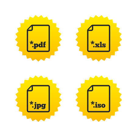 Download document icons. File extensions symbols. PDF, XLS, JPG and ISO virtual drive signs. Yellow stars labels with flat icons. Vector