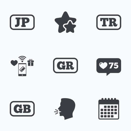 tr: Language icons. JP, TR, GR and GB translation symbols. Japan, Turkey, Greece and England languages. Flat talking head, calendar icons. Stars, like counter icons. Vector