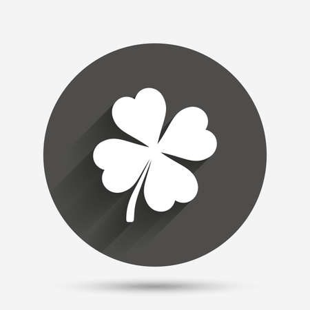 clover button: Clover with four leaves sign icon. Saint Patrick symbol. Circle flat button with shadow. Vector Illustration