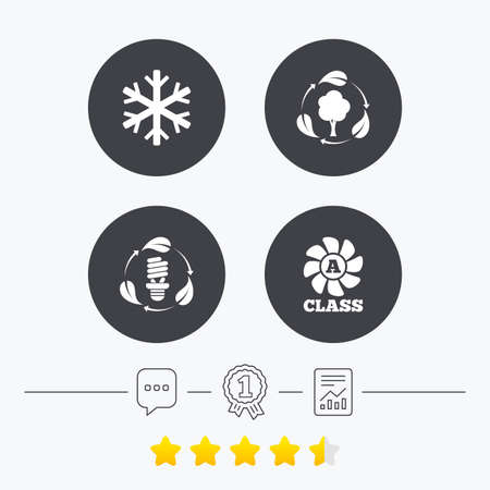 energy ranking: Fresh air icon. Forest tree with leaves sign. Fluorescent energy lamp bulb symbol. A-class ventilation. Air conditioning symbol. Chat, award medal and report linear icons. Star vote ranking. Vector