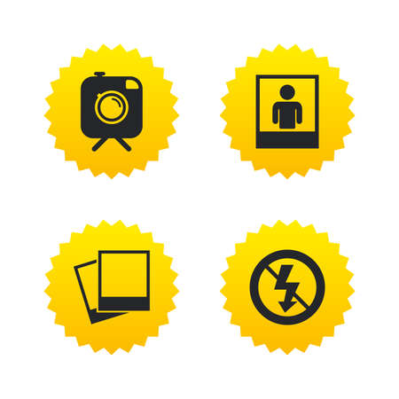 yellow photo: Hipster retro photo camera with mustache icon. No flash light symbol. Human selfie portrait photo frame. Yellow stars labels with flat icons. Vector
