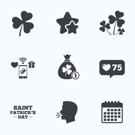 clover buttons: Saint Patrick day icons. Money bag with clover and coin sign. Trefoil shamrock clover. Symbol of good luck. Flat talking head, calendar icons. Stars, like counter icons. Vector