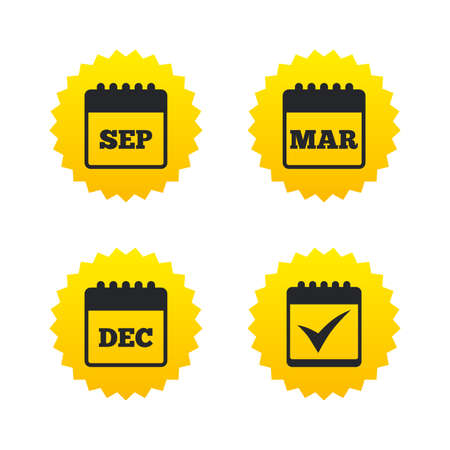 sep: Calendar icons. September, March and December month symbols. Check or Tick sign. Date or event reminder. Yellow stars labels with flat icons. Vector