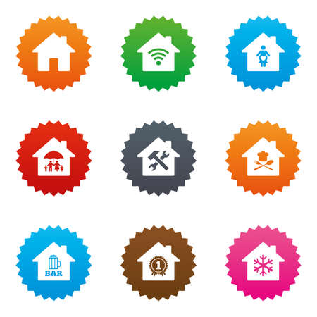 air hammer: Real estate icons. Home insurance, maternity hospital and wifi internet signs. Restaurant, service and air conditioning symbols. Stars label button with flat icons. Vector
