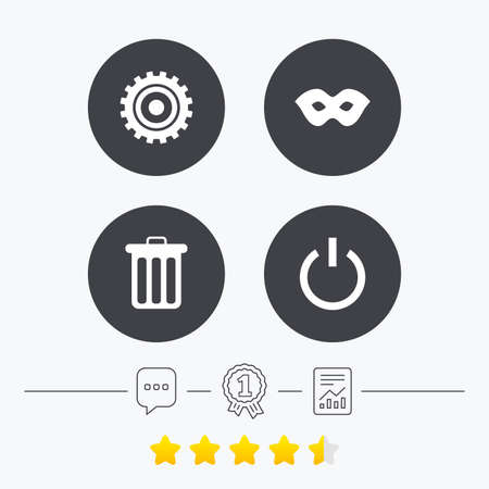 energy ranking: Anonymous mask and cogwheel gear icons. Recycle bin delete and power sign symbols. Chat, award medal and report linear icons. Star vote ranking. Vector