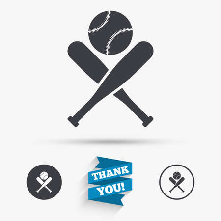 baseball ball: Baseball bats and ball sign icon. Sport hit equipment symbol. Flat icons. Buttons with icons. Thank you ribbon. Vector Illustration