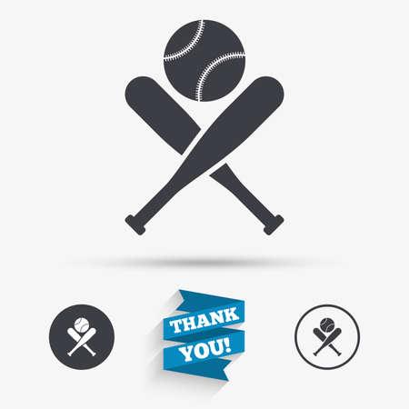 pelota beisbol: bates de béisbol y el icono de signo pelota. Deporte golpeado Símbolo del equipo. iconos planos. Los botones con iconos. Gracias cinta. Vector Vectores