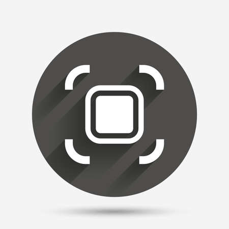 autofocus: Autofocus zone sign icon. Photo camera settings. Circle flat button with shadow. Vector
