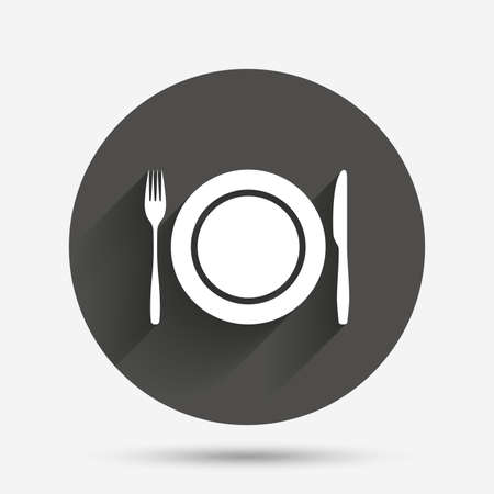 etiquette: Plate dish with fork and knife. Eat sign icon. Cutlery etiquette rules symbol. Circle flat button with shadow. Vector