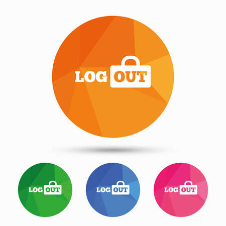 sign out: Logout sign icon. Sign out symbol. Lock icon. Triangular low poly button with flat icon. Vector