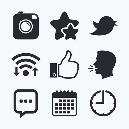 chat up: Hipster photo camera icon. Like and Chat speech bubble sign. Hand thumb up. Bird symbol. Wifi internet, favorite stars, calendar and clock. Talking head. Vector Illustration
