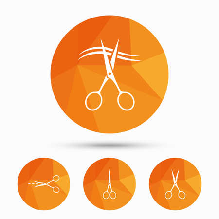 low cut: Scissors icons. Hairdresser or barbershop symbol. Scissors cut hair. Cut dash dotted line. Tailor symbol. Triangular low poly buttons with shadow. Vector