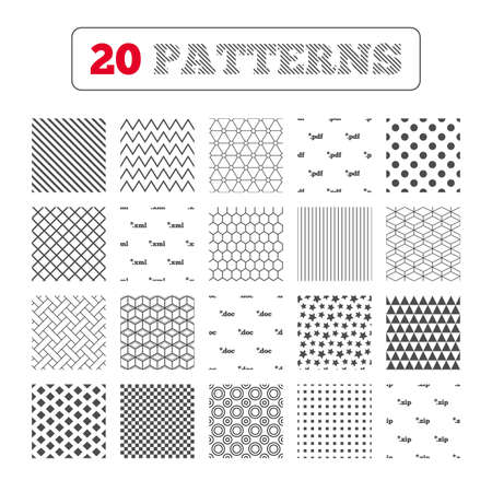 zipped: Ornament patterns, diagonal stripes and stars. Document icons. File extensions symbols. PDF, ZIP zipped, XML and DOC signs. Geometric textures. Vector Illustration