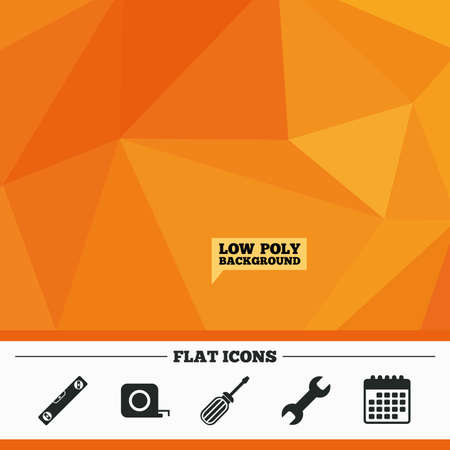 in low spirits: Triangular low poly orange background. Screwdriver and wrench key tool icons. Bubble level and tape measure roulette sign symbols. Calendar flat icon. Vector Illustration