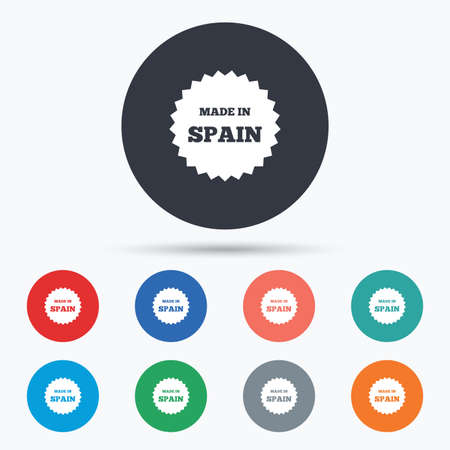 import trade: Made in Spain icon. Export production symbol. Product created sign. Circle buttons with icons. Vector