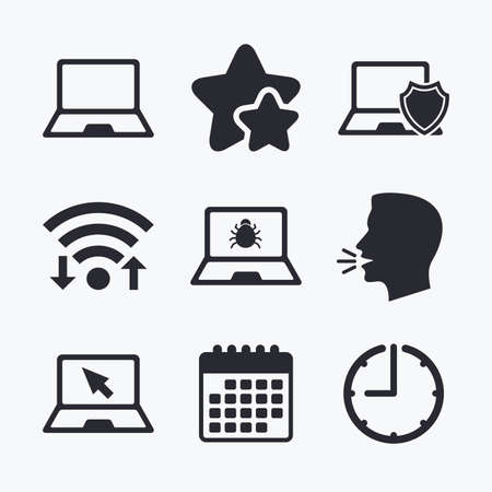 Notebook laptop pc icons. Virus or software bug signs. Shield protection symbol. Mouse cursor pointer. Wifi internet, favorite stars, calendar and clock. Talking head. Vector Illustration