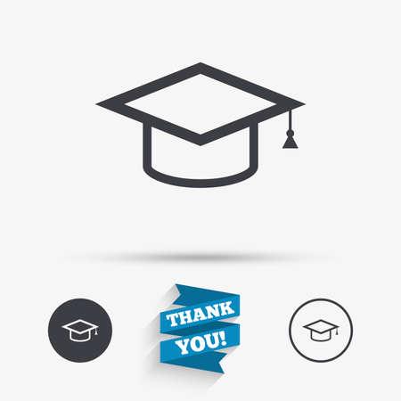 casquillo de la graduación icono de la muestra. símbolo de la educación superior. iconos planos. Los botones con iconos. Gracias cinta. Vector