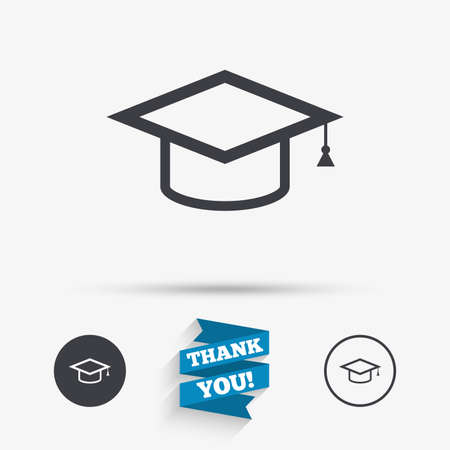 higher quality: Graduation cap sign icon. Higher education symbol. Flat icons. Buttons with icons. Thank you ribbon. Vector
