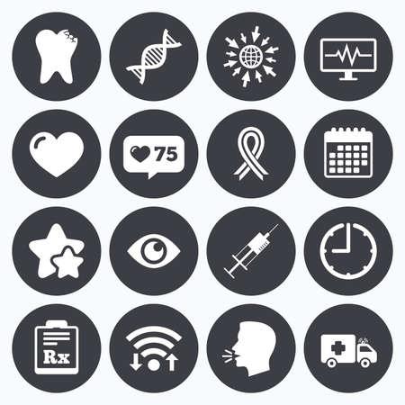 awareness ribbon: Calendar, wifi and clock symbols. Like counter, stars symbols. Medicine, healthcare and diagnosis icons. Tooth, syringe and ambulance signs. Dna, awareness ribbon symbols. Talking head, go to web symbols. Vector