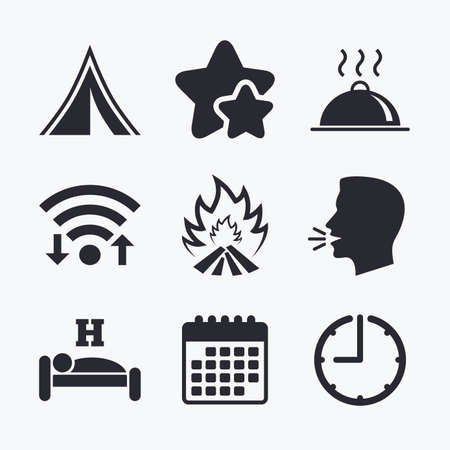 breakfast in bed: Hot food, sleep, camping tent and fire icons. Hotel or bed and breakfast. Road signs. Wifi internet, favorite stars, calendar and clock. Talking head. Vector