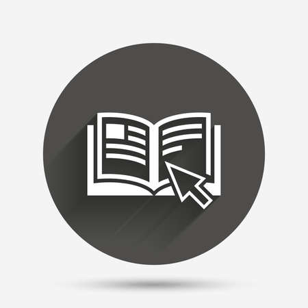 manual: Instruction sign icon. Manual book symbol. Read before use. Circle flat button with shadow. Vector