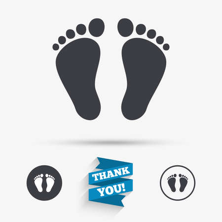 barefoot walking: Child pair of footprint sign icon. Toddler barefoot symbol. Flat icons. Buttons with icons. Thank you ribbon. Vector