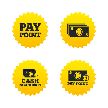 withdrawals: Cash and coin icons. Cash machines or ATM signs. Pay point or Withdrawal symbols. Yellow stars labels with flat icons. Vector Illustration